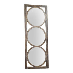Hooker Furniture - Melange Encircle Floor Mirror - Circle motifs in a sophisticated rustic finish offer a great reflection on your personal taste.  Mounting hardware placed in two different locations allow option for mirror to hang both vertically and horizontally.