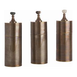 Arteriors - Arteriors 4301 Belfort Vintage Brass/Natural Stone Column - Arteriors 4301 Belfort Vintage Brass/Natural Stone Column