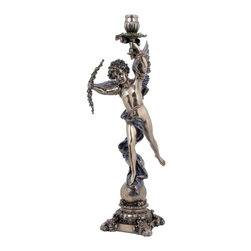 US - 18 Inch Bronzehued Candle Holder Greek WingedCupid with Right Hand Bow - This gorgeous 18 Inch Bronzehued Candle Holder Greek WingedCupid with Right Hand Bow has the finest details and highest quality you will find anywhere! 18 Inch Bronzehued Candle Holder Greek WingedCupid with Right Hand Bow is truly remarkable.