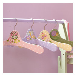 Magic Garden Set of 4 Hangers - Add this new edition to your child's already attractive valet rack. The Magic Garden hanger set helps your child expand the organizational process, by giving them something to hang their jackets and accessories on. Uniquely their own, these vivid hand painted hangers, make a tempting expansion of an already popular collection. Appropriate for ages 3 and up.