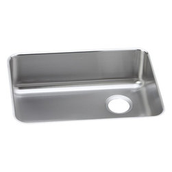 "Elkay - 25"" x 18.75"" x 8"" Single Bowl Kitchen Sink - Product height: 10. Product min width: 23. Product depth: 3018. Gauge stainless steel 25"" x 18.75"" x 8"" single bowl undermount kitchen sink. Elevate the culinary experience with the professional grade gourmet collection. Gourmet (lustertone) stainless steel single bowl undermount sink."