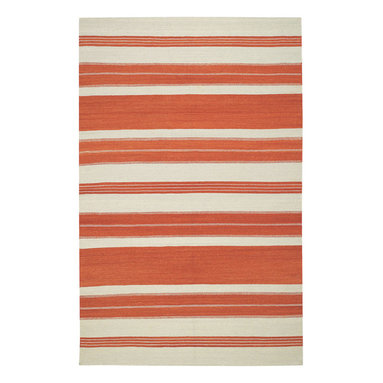 """Puhalo Stripe rug in Saffron - """"My great grandmother from Croatia was a weaver and a seamstress.  This rug was inspired from a beautifully simple tablecloth she had made as a teenager in the early 1900's.""""  Genevieve Gorder"""