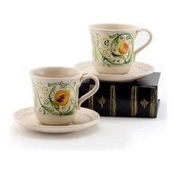 Artistica - Hand Made in Italy - ARMONIE: Cup and Saucer - Set of Two 10 Oz. - ARMONIE Collection