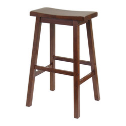 "Winsome Wood - Winsome Wood Saddle Seat 29 Inch Stool - Single - Contemporary Saddle Seat 29"" counter height stools in Antique Walnut finish. Solid wood construction of natural hardwood. Ships ready to assemble with all hardware and tools included. This new style seat is comfortable and sleek. Barstool (1)"