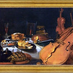 "Pieter Claesz-14""x28"" Framed Canvas - 14"" x 28"" Pieter Claesz Still-Life with Musical Instruments framed premium canvas print reproduced to meet museum quality standards. Our museum quality canvas prints are produced using high-precision print technology for a more accurate reproduction printed on high quality canvas with fade-resistant, archival inks. Our progressive business model allows us to offer works of art to you at the best wholesale pricing, significantly less than art gallery prices, affordable to all. This artwork is hand stretched onto wooden stretcher bars, then mounted into our 3"" wide gold finish frame with black panel by one of our expert framers. Our framed canvas print comes with hardware, ready to hang on your wall.  We present a comprehensive collection of exceptional canvas art reproductions by Pieter Claesz."
