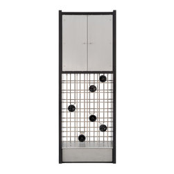 Infinity - 28 bottles of wine + storage for an array of glasses = one elegant cabinet. The Infinity wine cabinet features a mesmerizing base of stainless steel rods. These rods create a sculptural latticework that just happens to hold 28 bottles of wine. Above is an sleek cabinet with aluminum doors. The cabinet is divided by a glass shelf and will hold numerous wine glasses. Infinity packs a whole lot of function into a beautifully small footprint.