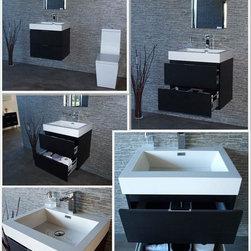 "Bliss 24"" Black Wall Mount Modern Bathroom Vanity - Marine Veneer Wood construction Console w/ 2 Drawers"