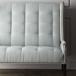 """Massoud - """"Corbin"""" Banquette - LIGHT GREY - Massoud""""Corbin"""" BanquetteDetailsFurniture-grade hardwood frame.Cotton/polyester/rayon/linen blend upholstery. Finished back. 58""""W x 33""""D x 53""""T; seat 20""""T; arms 25""""T. Handcrafted in the USA.Boxed weight approximately 150 lbs. Please note that this item may require additional delivery and processing charges.Designer About Massoud:Company president Chuck Massoud's father combined his entrepreneurial spirit with loans from three friends to start Massoud Furniture in 1962. Since then the Massoud family has been crafting its distinctive brand of custom seating. Massoud is credited for putting pitch in their wing chairs leaning them back slightly makes them so much more comfortable than the classic wing chair with a straight back. All Massoud furniture features kiln-dried hardwood frames and the finest leathers and fabrics available. They also employ multiple support rails reinforced corner blocks mortise-and-tenon joinery and suspended coil systems for comfort and quality craftsmanship that lasts a lifetime."""