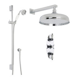 """Hudson Reed - Beaumont Victorian Thermostatic Shower System - 12"""" Apron Head & Ceramic Handset - Perfect for adding the finishing touches to your traditional bathroom, the Beaumont shower system from Hudson Reed comes complete with the 12"""" apron shower head with arm, slide rail kit with handset and the thermostatic triple shower valve. Incorporating an anti-scald device for a safer showering experience, the thermostatic shower valve has been constructed from solid brass in Great Britain. The shower valve also features ceramic disc technology for smooth control over the flow and temperature of the water."""