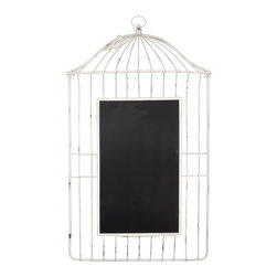 "Enchante Accessories Inc - Distressed Metal Bird Cage Wall Chalkboard 24"" x 43"" (Ivory) - This Metal Bird Cage Chalkboard is a beautiful way to display your messages and memos Great for Kids Study Areas / Homework AreaA casual way to display your reminders and lists.Use clothes pins to secure your notes to the cage style metal frame.Measuring overall  24 in. wide x 43 in. high   Perfect for your family messages and memos, this whimsical display stand offers a birdcage design that you are sure to love. With its antique-inspired appeal, this piece will continue to enhance your space with casual elegance for years to come.    Constructed of metal for years of lasting beauty.    A rustic bronze finish completes the look. Product Details   19""H x 15.5""W x 2""D.    Metal/bamboo."