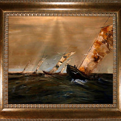 overstockArt.com - Kopania - Boats Oil Painting - Boats is an awe-inspiring image of large sale boats navigating the breezy sea current. Enjoy its beauty and color reproduced as a fine canvas print. Justyna Kopania is from Warszawa, Poland. In her words when she paints she tries to show the 'world', which could be seen by looking at reality that surrounds us, from another perspective, unusual, remote, sometimes through the eyes of the child, sometimes music, composer, or someone who looks lichen on the sea, the moon , the sky and the stars ..., the river ... looks out the window and looks out into the street. Walking down the street looking at people's faces. In rain, snow or fog. Perhaps the world that surrounds us really is quite different than we perceive it every day.