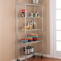 Chrome Kitchen Shelving Unit With Casters, 5-Shelf - I love this chrome shelving unit on wheels because it reminds me of a fresh bakery with baked goods ready to be rolled out. I would put it in my pantry to hold my kitchen appliances and any other items that are too large to store in the cupboards.