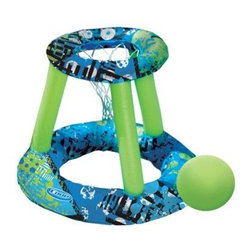 SwimWays Corp. - Hydro Spring Basketball - Durable polyester construction for lasting fun patented spring technology and simple inflation make setup and storage quick and easy. Brightly colored inflatable basketball with textured grip included. Entire set stores neatly in the convenient bag.