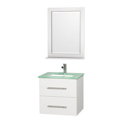 Wyndham - Centra Vanity 24in. in White w/ Green Glass Top & Square sink - Simplicity and elegance combine in the perfect lines of the Centra vanity by the Wyndham Collection. If cutting-edge contemporary design is your style then the Centra vanity is for you - modern, chic and built to last a lifetime. Available with green glass, white carrera marble or pure white man-made stone counters, and featuring soft close door hinges and drawer glides, you'll never hear a noisy door again! The Centra comes with porcelain, marble or granite sinks and matching mirrors. Meticulously finished with brushed chrome hardware, the attention to detail on this beautiful vanity is second to none.