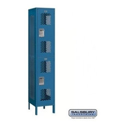 Salsbury Industries - Extra Wide Vented Metal Locker - Double Tier - 1 Wide - 6 Feet High - 18 Inches - Extra Wide Vented Metal Locker - Double Tier - 1 Wide - 6 Feet High - 18 Inches Deep - Blue - Unassembled