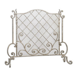 Uttermost - Acasia Silver Leaf Fireplace Screen - Hand forged metal with a beautifully elegant, metallic silver leaf finish.