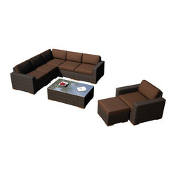 Harmonia Living - Arden 8 Piece Modern Patio Sectional Set, Coffee Cushions - Entertain your guests in modern style and comfort with the 6 Piece Arden Sectional Set with Brown Sunbrella® Cushions (SKU HL-ARD-6SEC-CH-CO). This set makes a practical choice for those who love showing theirs guests a good time with its comfortable, stylish design. The frames are made from thick-gauged aluminum and is wrapped with beautifully rich Chestnut finished wicker made from High-Density Polyethylene (HDPE). Each seat has plush, comfortable seat and back cushions that are covered in Sunbrella fabric, which is designed to be fast-drying and fade resistant, even in regular sun exposure. Teak wood feet sets this collection apart from others with a natural appeal that also elevates each piece for easy rearrangement.