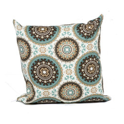 TKC - Pair of New Decorative Outdoor Throw Pillows Square - 18x18 - Blue Medallion - Help make your outdoor space inviting with the addition of outdoor throw pillows.