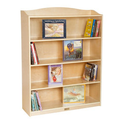 "Guidecraft - 5 Shelf Bookshelf Mission Style - This stylish, single-sided bookcase fits flush against the wall, with five approximately 11.5"" deep display shelves and a top ledge for storing books or toys. Constructed of birch plywood, the unit features rounded edges and corners, a durable UV finish, and ship with anti-tip brackets."