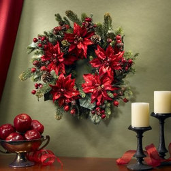 "24 in. Poinsettia & Berry Wreath - The 24 in. Poinsettia & Berry Wreath says """"welcome"""" like nothing else can. Combining the grace of poinsettias with the richness of berries this wreath looks great on the front door an inside wall or over the hearth.About Nearly Natural Inc.For over 75 years Nearly Natural Inc. has been providing conscientious consumers with beautiful alternatives to natural decorations. Employing and advised by naturalists who understand the live plant world Nearly Natural is able to recreate the most realistic-looking decorative items for homes offices and businesses. Driven by a true commitment to customer service attention to detail and natural philosophy Nearly Natural strives to bring customers the most beautiful unique and striking faux fauna and flora on the market."