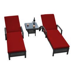"Reef Rattan - Reef Rattan 3 Piece Islander Chaise Lounger Set Grey Rattan / Red Cushions - Reef Rattan 3 Piece Islander Chaise Lounger Set Grey Rattan / Red Cushions. This patio set is made from all-weather resin wicker and produced to fulfill your needs for high quality. The resin wicker in this patio set won't fade, shrink, lose its strength, or snap. UV resistant and water resistant, this patio set is durable and easy to maintain. A rust-free powder-coated aluminum frame provides strength to withstand years of use. Sunbrella fabrics on patio furniture lends you the sophistication of a five star hotel, right in your outdoor living space, featuring industry leading Sunbrella fabrics. Designed to reflect that ultra-chic look, and with superior resistance to the elements in a variety of climates, the series stands for comfort, class, and constancy. Recreating the poolside high end feel of an upmarket hotel for outdoor living in a residence or commercial space is easy with this patio furniture. After all, you want a set of patio furniture that's going to look great, and do so for the long-term. The canvas-like fabrics which are designed by Sunbrella utilize the latest synthetic fiber technology are engineered to resist stains and UV fading. This is patio furniture that is made to endure, along with the classic look they represent. When you're creating a comfortable and stylish outdoor room, you're looking for the best quality at a price that makes sense. Resin wicker looks like natural wicker but is made of synthetic polyethylene fiber. Resin wicker is durable & easy to maintain and resistant against the elements. UV Resistant Wicker. Welded aluminum frame is nearly in-destructible and rust free. Stain resistant sunbrella cushions are double-stitched for strength and are fully machine washable. Removable covers made with commercial grade zippers. Tables include tempered glass top. 5 year warranty on this product. Chaise Lounger (2): W 29"" D 78"" H 10"", Coffee Table: W 20"" D 18"" H 10"""