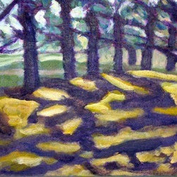 Shadows (Original) by Sally Slifkin - A simple walk on a sunny day in the shade. The beauty found everyday by the shadows that the trees make. Exaggerated colors add interest to this small painting, perfect for a spot on a wall or shelf.