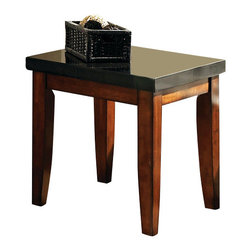 Steve Silver Furniture - Steve Silver Granite Bello End Table - The perfect complement to any room. The Granite Bello collection provides irresistible style and a sanctuary for all the senses. The end table features a black granite top and legs wrapped in a rich cherry finish.