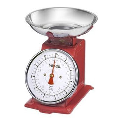 "Taylor - Taylor Retro Kitchen Scale - Taylor Retro Kitchen Scale with 11 lb. x 1 oz. / 5 kg x 50g capacity; Removable stainless steel bowl; Large 5"" diameter dial; Bright red pointer for easy viewing. Stainless Steel finish."