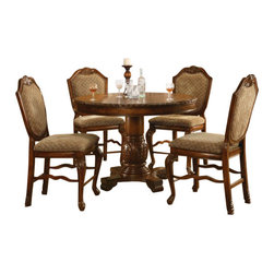 "Acme - Chateau De Ville Cherry Brown Finish Wood Counter Height Dining Table Set - 5-Piece Chateau De Ville collection cherry finish wood round counter height pedestal dining table set with diamond pattern fabric padded chairs. This set features a round counter height table with decoratively carved accents, 4 - side chairs with a diamond pattern fabric padded back. Table measures 48"" Dia. x 36"" H . Chairs measure 24"" H seat height. Some assembly required."