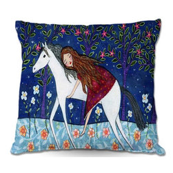 DiaNoche Designs - Pillow Woven Poplin by Sascalias Horse Dreamer - Toss this decorative pillow on any bed, sofa or chair, and add personality to your chic and stylish decor. Lay your head against your new art and relax! Made of woven Poly-Poplin.  Includes a cushy supportive pillow insert, zipped inside. Dye Sublimation printing adheres the ink to the material for long life and durability. Double Sided Print, Machine Washable, Product may vary slightly from image.
