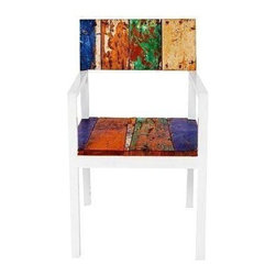 "Pre-owned Neptune Reclaimed Wood Side Chair - The fine white arms of the Neptune Dining Chair contrast strikingly with the colorful weathered wood reclaimed from fishing boats. The slender lines make it elegant enough for the dining room, and the marine-grade teak makes it stalwart enough for the out-of-doors.    Benefits:    The Neptune Dining Chair is handmade from the wood of tropical fishing boats and iron from yesterday's bridges. Our pieces, large and small, are playful, due to the color and weathering inherent in each boat we buy; sophisticated by nature of our in-house design team, and made to last a lifetime: We use only the highest-quality fishing-boat teak.    Care, cleaning and technical information:  Highly durable marine grade wood is perfect for both indoor and outdoor use. We have treated this item with a water based organic semi-gloss finish therefore cleaning is very simple.  Low in harmful VOC's (volatile organic compounds) it is comparable to oil-based varnish for its high resistance to abrasion, water and solvents. This item cleans up easily with soap and water. As it cures, the molecules become cross linked in a lattice-like pattern that is much more durable than the single-strand bonds formed by conventional water-based finishes. This makes it a good choice for high-wear interior applications such as tabletops. It will have a very slight shine to it.     Number of pieces included: 1    Additional Dimensions:  Seat Height 18""       Back Rest Ht 18""       Arm Ht from Seat 9""           Arm Ht from Floor 22""    Color: Wood is a natural material that varies in color, grain pattern and over-all appearance and texture. While our product images are intended to represent a wide spectrum of a materials and meant to display various characteristics, they do not show all variations. Each piece has its own individual characteristics; no item is exactly the same although we do keep the colors schemes consistent. The wood grain and coloring do vary slightly."