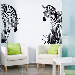 ColorfulHall Co., LTD - Room Decor Jungle Animals Wall Decals With Grass Zebra Wall Decals - You will find hundreds of affordable peel - and - stick wall decal designs, suitable for all kinds of tastes and every room in your house, including a children's movie theme, characters, sports, romantic, and home decor designs from country to urban chic. Different from traditional decals, vinyl wall decals is with low adhesive that allows you to reposition as often as you like without damaging the paint. Application is easy: peel offer the pre-cut elements on the design with a transfer film, and then apply it to your wall. Brighten your walls and add flair to your room is just as easy.