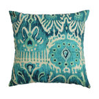 """The Pillow Collection - Haestingas Ikat Pillow Blue - Make your room exciting with this throw pillow. This accent pillow features a traditional ikat pattern in shades of blue and white. Decorate your sofa, bed or chair with this square pillow and pair it with other patterns from our collection. This 18"""" pillow is made of 100% cotton-made material. Hidden zipper closure for easy cover removal.  Knife edge finish on all four sides.  Reversible pillow with the same fabric on the back side.  Spot cleaning suggested."""