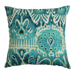 "The Pillow Collection - Haestingas Ikat Pillow Blue 18"" x 18"" - Make your room exciting with this throw pillow. This accent pillow features a traditional ikat pattern in shades of blue and white. Decorate your sofa, bed or chair with this square pillow and pair it with other patterns from our collection. This 18"" pillow is made of 100% cotton-made material. Hidden zipper closure for easy cover removal.  Knife edge finish on all four sides.  Reversible pillow with the same fabric on the back side.  Spot cleaning suggested."