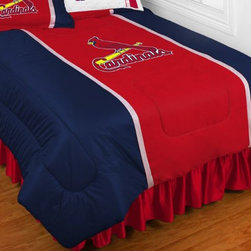 Sports Coverage - MLB St. Louis Cardinals Sidelines Bedding - Comforter - Full - MLB St. Louis Cardinals Sideline Comforter looks and feels like a real jersey! A must have for any true fan. New Design - Same great quality! Show your team spirit with this great looking officially licensed Comforter which comes in a new style: Covers are 100% Polyester Jersey top side and Poly/Cotton bottom side, filled with 100% Polyester Batting. Logos are screenprinted. Machine washable in warm water, and tumble dry on low heat. Each comforter has the team logo centered on solid background in team colors. 5.5 oz. Bonded polyester batts. Looks and feels like a real jersey!