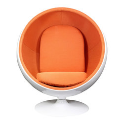 "LexMod - Kaddur Lounge Chair in Orange - Kaddur Lounge Chair in Orange - This retro lounge chair resembles a space-age pod creating a spark of interest in anyone who sees it. The fabric lined inner shell offers a sense of privacy and retreat as you relax into the plush cushions. Its exterior is a wonder; a molded fiberglass shell and matching fiberglass base with an integrated swivel mechanism. Set Includes: One - Kaddur Lounge Chair Fiberglass Shell, Poly / Cotton Interior, Swivel Base, Scratch and Chip Resistant Finish Overall Product Dimensions: 29""L x 42""W x 48""H Seat Height: 18""H - Mid Century Modern Furniture."