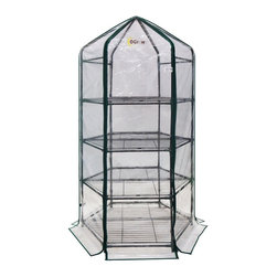 None - Ogrow Ultra-Deluxe 4-tier Hexagonal Flower Planthouse - This compact,portable,hexagonal greenhouse features a heavy-duty sturdy steel frame with a strong,durable clear cover and is secured with hook and loop connections. Quick and easy assembly makes this planthouse a perfect addition to your home.