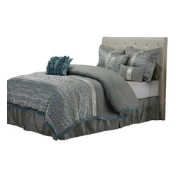 Dannica Bedding Set - Queen - The Dannica Bed Set features an elegant combination of Silver and Teal with an embossed oval pattern. This lavish 7-piece comforter set comes with everything you need to complete your bedroom. The set includes a high-quality Microfiber comforter, bed skirt, two pillow shams, and three different types of throw pillows.
