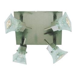 Joshua Marshal - Four Light Brushed Nickel Frosted Spotlight Glass Directional Flush Mount - Four Light Brushed Nickel Frosted Spotlight Glass Directional Flush Mount