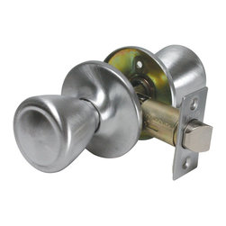 Premier - Tulip Style Door Knob Hall Closet Passage Lockset - Brushed Aluminum - This ANSI Grade 3 tulip knob passage lockset complements both traditional and contemporary residential interior doors. This set has no thumb-turn lock, ensuring easy opening of doors which never need to be locked. The backset is adjustable between 2-3/8in. and 2-3/4in. This lockset is made to fit doors between 1-3/8in. and 1-3/4in. It features a dead latch style backset and a square corner striker. The US27 Brushed Aluminum finish is protected by a clear powder coat finish.