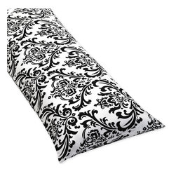 Sweet Jojo Designs - Sweet Jojo Designs Damask Full Length Double Zippered Body Pillow Cover - Keep yourself warm at night and add a special touch to your bedroom with this striped body pillow cover. Made of 100% cotton,the body pillow includes zippers on both sides to make it easy to use. The black and white damask fits any color scheme easily.