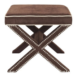 Safavieh - Palmer Ottoman - Chocolate Brown - Whether you call it an X-bench or cross-bench, the Palmer Ottoman offers a designer look with all the trimmings. Its classic form complements any design style from contemporary to traditional, and its custom look comes from a sophisticated mix of chocolate brown polyester fabric, contrasting beige self-welting and nickel nailhead trim. The fully upholstered Palmer is ideal in pairs at the foot of the bed or in the living room, or use it alone as seating in a master bath.