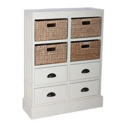 None - Gallerie Décor Nantucket 4-drawer 4-basket Cabinet - This Nantucket cabinet is both classic and functional,and will definitely add a strong style accent to any room in your home. Catch the attention of your friends and guests with the help of this wonderfully attractive cabinet.