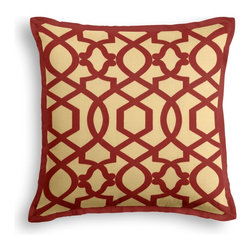 Red Velvet Flocked Trellis Tailored Pillow - The Tailored Throw Pillow is an updated, contemporary pillow style with the center fabric framed by a thin contrast flange.  Voila!-it's artwork for your couch!  We love it in this red velvet flocked trellis in on dark cream cotton that adds subtle texture & warmth to your room.