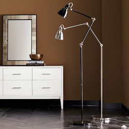Industrial Task Floor Lamp - A skinny floor lamp like this one is great when your floor space is limited.