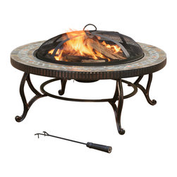 Elizabeth 34-in Outdoor Slate Fire Pit With Table Lid & Cooking Grate - The Pleasant Hearth OFW103RI Elizabeth Outdoor Multi-Functional Fire Pit is a beautiful way to add warmth and atmosphere to your backyard or patio. This easy to assemble, 3-in-1 circular fire pit is designed with cast iron legs to support the 24-inch enameled fire bowl and a 34-inch natural slate top that's decorated with trim and copper accents. The pit houses a steel enameled wood grate to allow oxygen to circulate and provide a long stead consistent fire burn. An ash catcher is also provided for easy cleaning and air holes in fire bowl allows for proper water drainage. A 20-inch long poker is included to move lit firewood as needed and a mesh spark guard lid helps prevents embers from escaping onto your guests. A chrome-plated cooking grid is included to grill food and capture all the great smoke flavor. When not in use, the Elizabeth fire pit can double as an accent table by adding the steel rubbed bronze pit cover. The style of this fire pit is a wonderful accent to any patio, and perfect for entertaining. Fully assembled, this unit measures 20-inches high, 34-inches in diameter and weighs 56.1-pounds. Pleasant Hearth Brand promises the highest quality fireplace heaters, electric stoves, decorative logs and fireplace glass doors. Pleasant Hearth branded products are made of premium materials to build easy to assemble products that exceed the strict industry standards for safety and quality. The Pleasant Hearth OFW103RI Elizabeth Outdoor Fire Pit comes with a 1-year limited warranty that protects against defects in materials and workmanship. GHP Group, Inc. is an industry leader in manufacturing electric fireplaces, fireplace glass doors, fireplace accessories, electric log sets, portable heating products and barbecue grills. All of GHP's products have gone through rigorous testing to ensure that they meet and exceed the industry standards for quality, durability and function.
