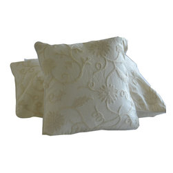 Crewel Fabric World - Crewel Pillow Sham Floral Vine White On White Cotton Duck 16x16 Inches - Hand embroidered with 100% wool on cotton base