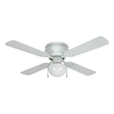 """Builders Collection - White 42"""" Hugger Ceiling Fan w/ Light Kit - Motor Finish: White"""