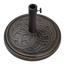 Bond - Bond 60474A Gaelen Umbrella Base Antique Bronze - The Envirostone Umbrella base combines a timeless design with the versatility of environmentally friendly materials. The umbrella base is 100% rust proof so you'll never need to worry about it staining your deck or patio.
