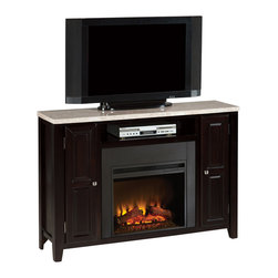 "Steve Silver Furniture - Steve Silver Monarch Marble Top Media Fireplace Set - The Monarch Collection is rich and classic. The marble top media fireplace set combines a 56"" x 15"" TV stand with a 40"" high electric fireplace mantel for a versatile piece that the family will gather around for entertainment and indoor activities. wood mantel includes two cabinets and a media shelf; the top is made of faux marble."